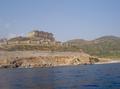 Zicht op het Hotel vanop een bootje in zee